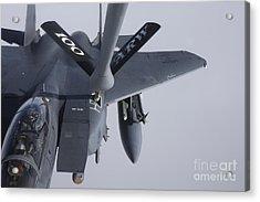 Air Refueling A F-15e Strike Eagle Acrylic Print by Daniel Karlsson