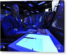 Air Traffic Controller Stands Watch Acrylic Print by Stocktrek Images