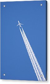 Aircraft Contrail Acrylic Print by Duncan Shaw
