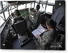 Aircrew Perform Preflight Checklists Acrylic Print by Stocktrek Images