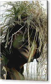 Airman Wearing A Ghillie Suit Acrylic Print by Stocktrek Images