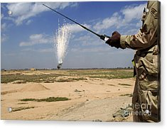 Airmen Conduct A Controlled Detonation Acrylic Print by Stocktrek Images