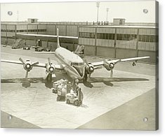 Airplane And Ground Crew On Airport Acrylic Print by George Marks