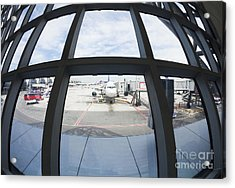 Airplane Parked At Gate Acrylic Print by Don Mason