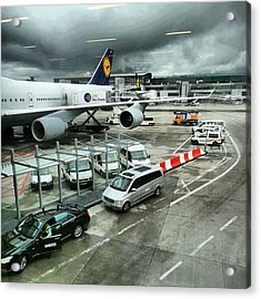 #airport #manchester #plane #car #cloudy Acrylic Print