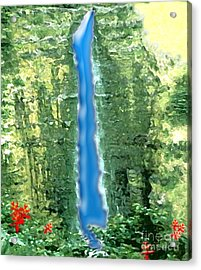Akaka Falls Acrylic Print by Karen Nicholson