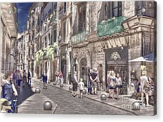 Acrylic Print featuring the photograph Al Fresco - Girona Spain by Jack Torcello