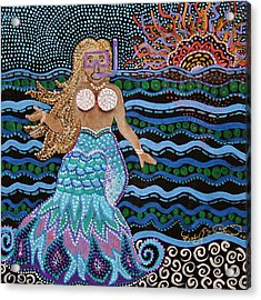 Alan Spots A Mermaid At The Great Barrier Reef Acrylic Print