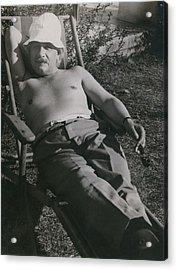 Albert Einstein 1879-1955, Sunbathing Acrylic Print by Everett