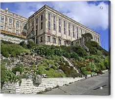 Alcatraz Cell House West Facade Acrylic Print by Daniel Hagerman