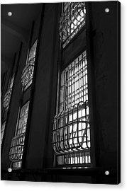 Alcatraz Federal Penitentiary Cell House Barred Windows Acrylic Print by Daniel Hagerman