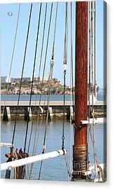 Alcatraz Island Through The Hyde Street Pier In San Francisco California . 7d14148 Acrylic Print by Wingsdomain Art and Photography