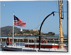 Alcatraz Island Through The Hyde Street Pier In San Francisco California . 7d14163 Acrylic Print by Wingsdomain Art and Photography