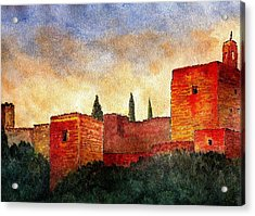 Alhambra At Sunset Acrylic Print by Barbara Smith