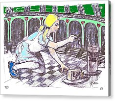 Alice Finds The Key Acrylic Print by Herb Russel