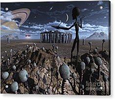 Alien Explorers On An Alien World Acrylic Print by Mark Stevenson