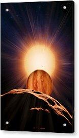 Alien Planet And Asteroid, Artwork Acrylic Print by Detlev Van Ravenswaay