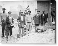 Alien Subway Workers With Shovels Acrylic Print by Everett