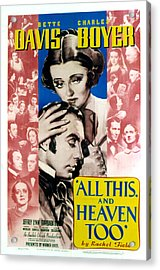 All This And Heaven Too, Bette Davis Acrylic Print by Everett