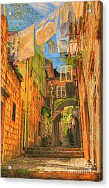 Alley In Croatia Acrylic Print by Alberta Brown Buller