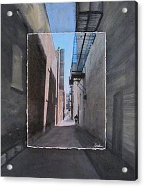 Alley With Guy Reading Layered Acrylic Print by Anita Burgermeister