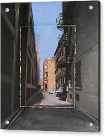 Alley With Red And Tan Buildings Layered Acrylic Print by Anita Burgermeister