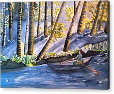 Alone On The River Acrylic Print