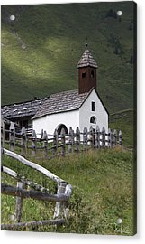 Alpine Church. Acrylic Print by Raffaella Lunelli