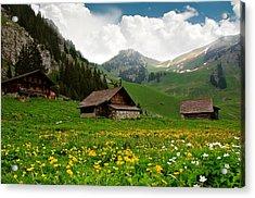 Alpine Huts - Switzerland Acrylic Print by Kitty Bern