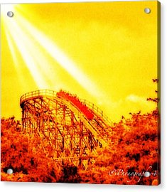 #amazing Shot Of A #rollercoaster At Acrylic Print by Pete Michaud