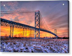 Ambassador Bridge Sunrise 1-16-2012  Detroit Mi Acrylic Print