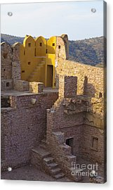Amber Fort Stone Wall Acrylic Print by Inti St. Clair