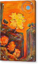 Acrylic Print featuring the painting Amber Sky Blue Sun by Mary Schiros