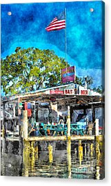 Acrylic Print featuring the photograph American Flag At Bait Shop by Dan Friend