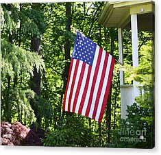 Acrylic Print featuring the photograph American Flag At Home by Denise Pohl