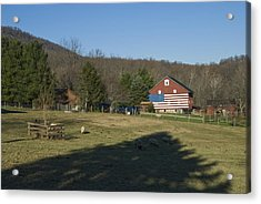American Flag Painted On The Barn Acrylic Print