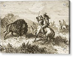 American Indians Buffalo Hunting. From Acrylic Print by Ken Welsh