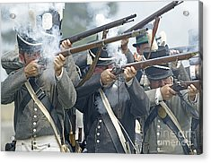 American Infantry Firing Acrylic Print by JT Lewis