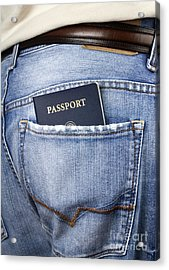 American Passport In Back Pocket Acrylic Print by Blink Images