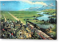 American Transcontinental Railroad Acrylic Print by Photo Researchers