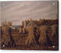 Amish Farm In Autumn Acrylic Print by James Guentner