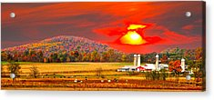 Amish Farm Sundown Acrylic Print by Randall Branham