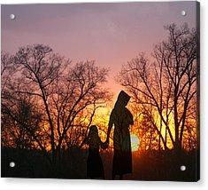 Amish Sisters Acrylic Print