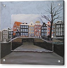 Amsterdam Bridge Layered Acrylic Print by Anita Burgermeister