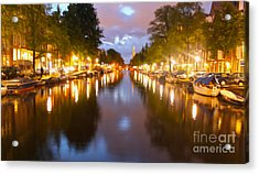 Amsterdam Canal At Night Acrylic Print by Gregory Dyer