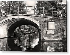 Amsterdam Canal Bridge In Sepia Acrylic Print by Gregory Dyer