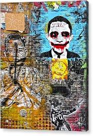 Amsterdam Obama Graffiti Acrylic Print by Gregory Dyer