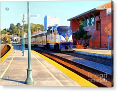 Amtrak Arriving At The Martinez California Train Station . 7d10495 Acrylic Print by Wingsdomain Art and Photography