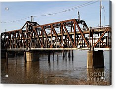 Amtrak California Crossing The Old Sacramento Southern Pacific Train Bridge . 7d11692 Acrylic Print by Wingsdomain Art and Photography