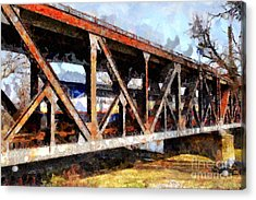 Amtrak California Crossing The Old Sacramento Southern Pacific Train Bridge . Painterly 7d11410 Acrylic Print by Wingsdomain Art and Photography